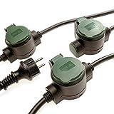 Verlängerungskabel außen 10m mit 3 Steckdosen – IP44 Verlängerungskabel bringt unauffällig Strom in den Garten – robustes Gummi-Stromkabel, Einzel-Steckdosen mit Erdspieße