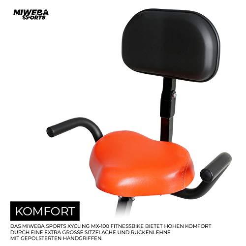 Miweba Sports Indoor Xycling X-Bike Fitnessbike - 3 Kg Schwungmasse - Pulsmessung - 8 Widerstandsstufen - App Funktion (Schwarz Rot) - 6