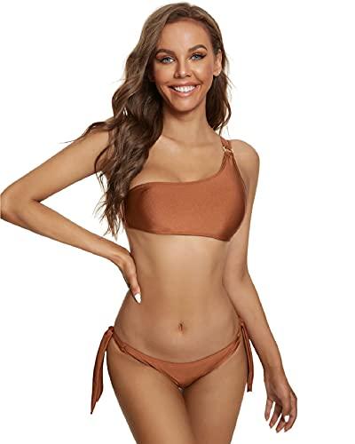 Yuson Girl Bikini Mujer Brasileño Sexy Halter, Bañadores Natacion Parte de Arriba Hombro Simple, 2 Piezas Tankini Mujer Talla Grande Cierre Trasero Ajustable
