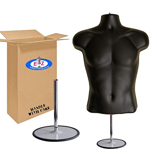 Male Mannequin Torso, Dress Form Hollow Back Body Tshirt Display, with Stand for Counter Top by EZ-Mannequins for Craft Shows, Photos or Design, Easy to Assemble and Store, S-M Clothing Sizes, Black.