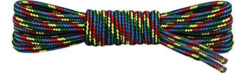 Ladeheid Qualitäts-Schnürsenkel LAKO1002, Rundsenkel für Arbeitsschuhe und Trekkingschuhe aus 100% Polyester, ø ca. 5 mm Breit, 18 Farben, 60-200 cm Länge (Muster-1, 90 cm/ø 5 mm)