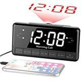 iLuv Morning Call 3, 1.2' Jumbo White LED Display Projection Dual Alarm Clock with 180 Degree Reverse Projection, FM Radio, 10 Preset Station, Sleep Timer, Snooze Button, Dimmer, and USB Charging Port