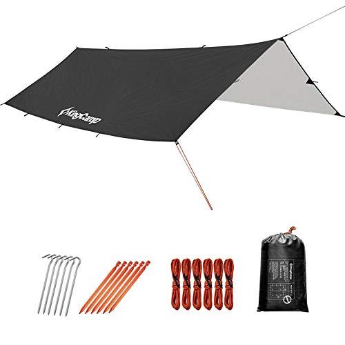 KingCamp Zelt Tarp wasserdicht Regen fliegen Zelt Tarp 300cm x 300/400/500cm leichte Ripstop Schneefest PU3000mm für Camping Reisen Outdoor Hängematten