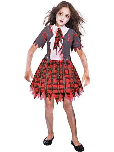 amscan 9903848 Disfraz de zombi escolar para niña de 11 a 12 años, 1 unidad