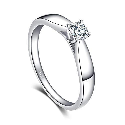 litulituhallo Anillos de plata de ley chapados en oro blanco para su clase solitario diamante
