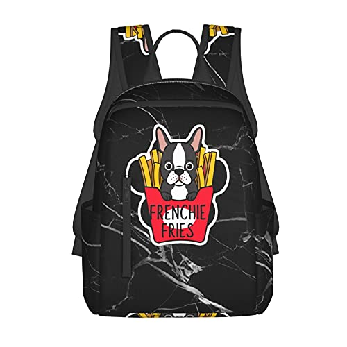 Casual Black Backpacks , Frenchie Fries Daypacks School Bags for Teens Boys Girls
