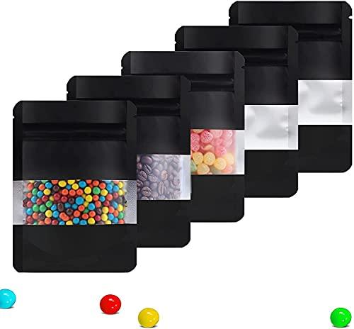 Bolsas pouch con ventana Yuu-Goo 50 UNIDADES cierre hermético de cremallera,perfecto para almacenamiento de comida,especias,avena...
