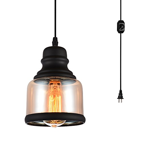 HMVPL Glass Hanging Lights with Plug in Cord and On/Off Dimmer Switch,...