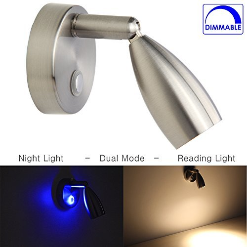 Obeaming RV Reading Light LED Directional Spot Light for Boats RVs Interior Lighting Touch On/Off/Dim Switch Brushed Nickel 12 Volt Hard-wired
