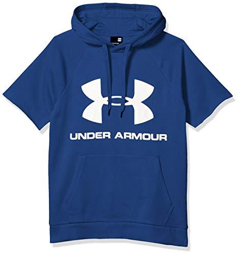 Under Armour Herren Rival Fleece Logo Kurzarm Pullover Hoodie, Herren, Kapuzenpullover, Rival Fleece Logo Short Sleeve Pullover Hoodie, American Blue (449)/Onyx White, X-Large