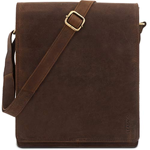 LEABAGS London Umhängetasche Schultertasche 13 Zoll Laptops aus Leder im Vintage Look, Muskat,...
