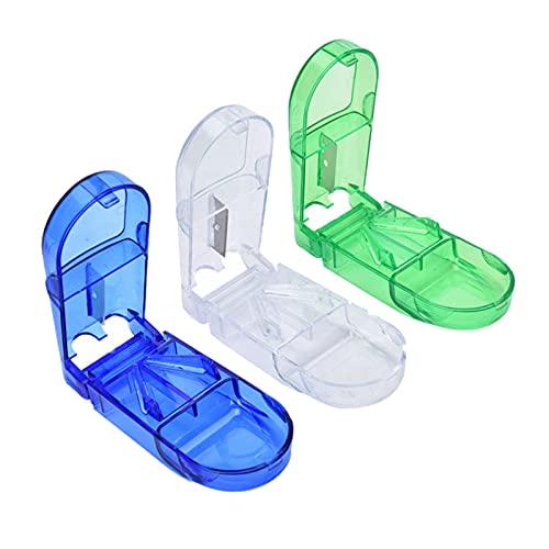 Pillenschneider Tablettenteiler Pillenteiler Tablettenteiler 9 StüCk Tablettenteiler FüR GroßE Und Kleine Tabletten Tablettenschneider Mit Aufbewahrungsfach Blau,GrüN,Transparent Je Drei