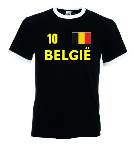 Fruit of the Loom BELGIE Retro Herren T-Shirt Belgien Trikot Nr.10|s-XL