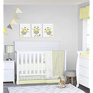 Pam Grace Creations 4 Piece Yellow and Gray Argyle and Polka Dot Crib Bedding Set