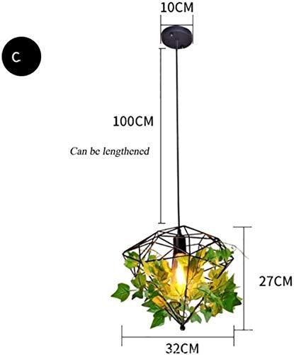 Iron Pendant Lamp, Green Plant Loft kleine hanger creatieve persoonlijkheid Gang Gang Lighting decoratieve hanger groene plant Kleine Pendant Lamp (C sectie)