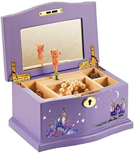 Caja de madera hecha a mano con llave oculta y ext Caja de joyería musical para niños, caja de joyería de la música de las niñas con bailarina, caja musical de madera púrpura con espejo grande Hermoso