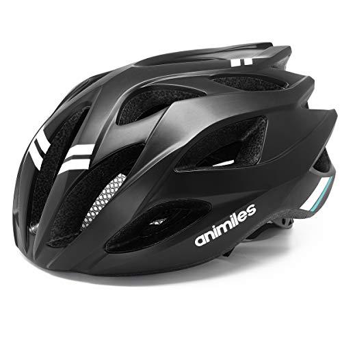 ANIMILES Fahrradhelme für Männer Frauen Leichtgewichte Fahrradhelm Sicherheit Zertifiziert für Mountain Road Cycling Helm Einstellbare Größe 21 bis 24 Zoll (Schwarz)