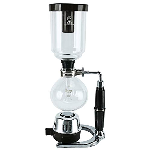 Boeng Tabletop Siphon (Syphon) Coffee Maker with Alcohol Burner, Plastic Coffee Powder Spoon, Filter...
