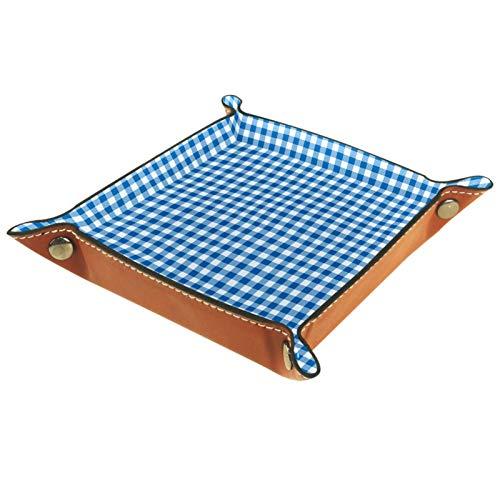 Kleine Aufbewahrungsbox,Herren-Valet-Tablett,Blau-weiße Tischdecke,Leder Catchall Organizer für Coin Box Key Schmuck