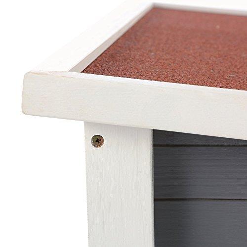 ZELSIUS Holzgarage für Rasenmäher Roboter, Garage aus Holz für Mähroboter, Rasenmäherrobotergarage, Mährobotergarage, Carport für Rasenroboter (grau) - 7