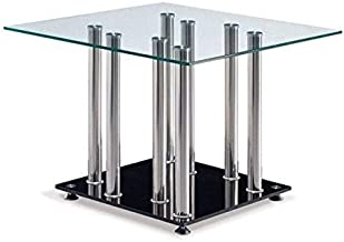 Global Furniture Clear/Black Occasional End Table with Stainless Steel Legs