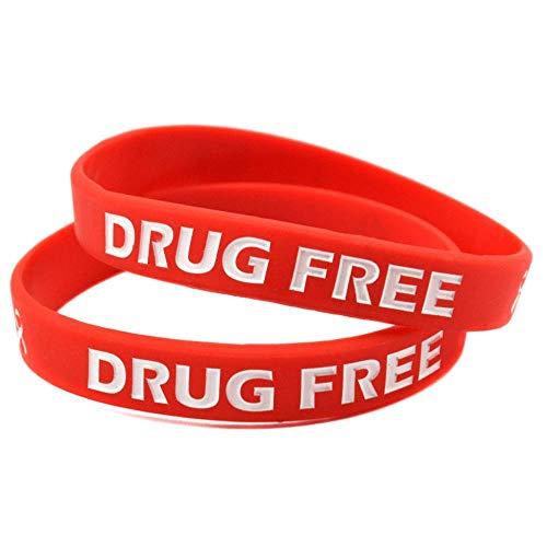 Siliconen Polsbandjes met Zeggen 'Drug Free' Weg van Drug Propaganda Waarschuwing Siliconen Armband Set van 10 Stuks