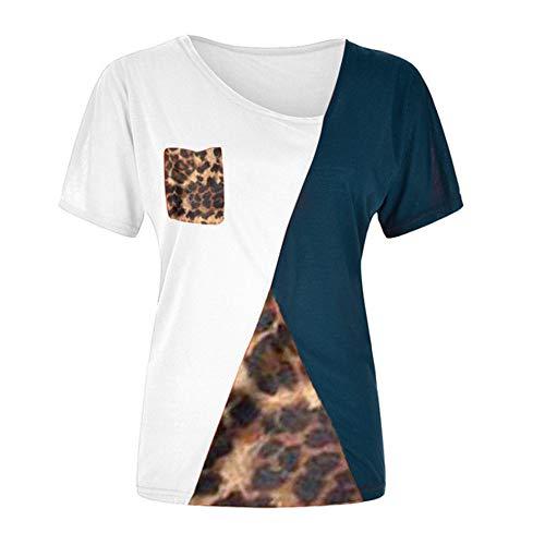 Camiseta Mujer Manga Larga/Manga Corta Oblicua Cuello V Leopardo Empalme Tops Mujer Primavera Verano Suave Cómodo Elegante Chic Mujer Tops H-White XL