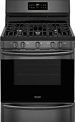 """Frigidaire FGGF3036TD Gallery Series 30"""" Gas Freestanding Range with Sealed Burner Cooktop, Storage, 5 cu. ft. Primary Oven Capacity, in Black Stainless Steel"""