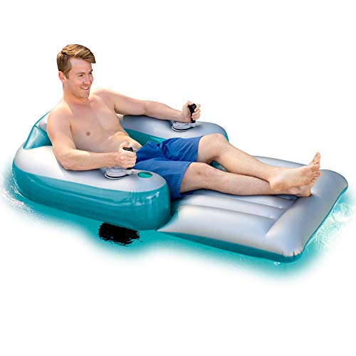 Poolcandy Splash Runner Motorized Inflatable Swimming Pool Lounger - Fun Cool Powered Float for Any Pool or Lake - 1 Year Free Parts Replacement & Support
