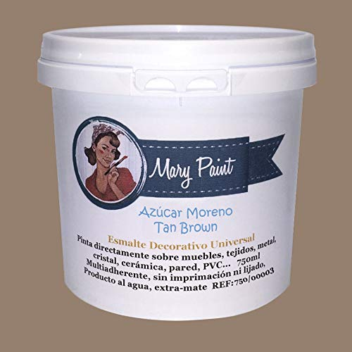 Mary Paint   Pintura para muebles efecto Chalk Paint, Azúcar Moreno - 750ml