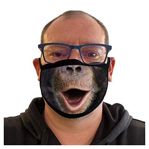 MEITING 1 Stück Erwachsene Mundschutz mit Motiv Lustiger Gorilla-Druck Eisseidentuch Waschbar Atmungsaktiv Staubdichte Multifunktionstuch Wiederverwendbar Halstuch Sanft Bandana für Herren Damen