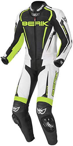 Berik Race-X 2-Teiler Motorrad Lederkombi 54 Schwarz/Weiß/Gelb