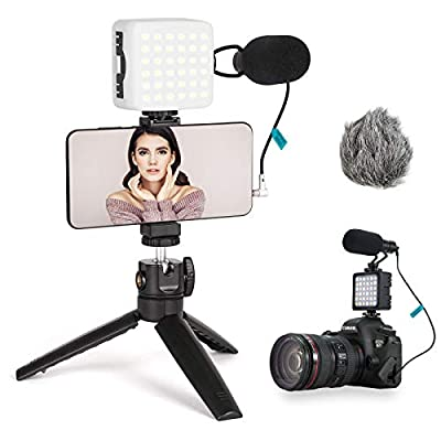 FLASHOOT Vlogging Kit Phone Video Kit Accessories: Phone Tripod, Phone Mount, LED Light and Cellphone Shotgun Microphone for Phone Video Recording Video Conferencing, Zoom Calls, Live Streaming, Vlog by FLASHOOT