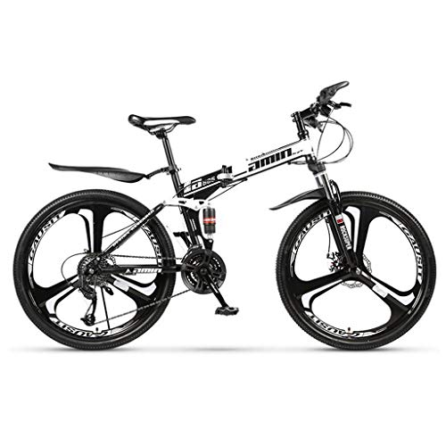 AQWWHY 26 Inch Men's Folding Mountain Bikes, High-Carbon Steel Hardtail Mountain Bike, Mountain Bicycle with Front Suspension Adjustable Seat,21 Speed(Color:White,Size:10cutter Wheel)
