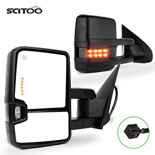 SCITOO Towing Mirrors Black Rear View Mirrors for 2014-2018 for Chevy Silverado/for GMC Sierra 1500 2015-2018 for Chevy Silverado/for GMC Sierra2500 HD 3500HD with Power Heated Signal Backup Light