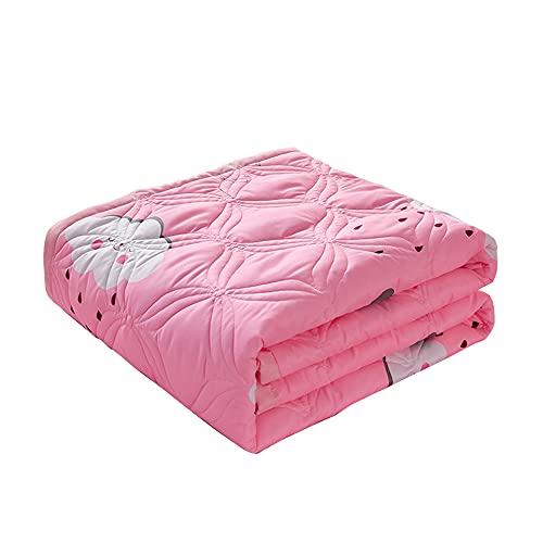 Surwin Tagesdecke Bettüberwurf aus Mikrofaser, Wattiert Gesteppt Bettdecke Sommer Dünne Steppdecke für Doppelbett Einzelbett Muster (Rosa Wolke,100x150cm)