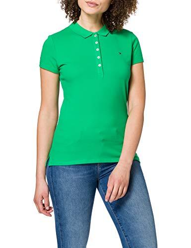 Tommy Hilfiger Short Sleeve Slim Polo Maglietta a Manica Corta da Donna, Verde, XXL