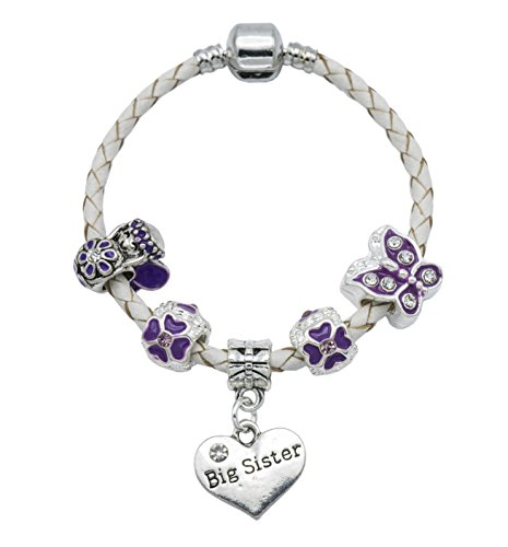 'The Purple Fairy' Big Sister Cream Leather Charm Bracelet for Girls Presented in High Quality Gift Pouch (16)