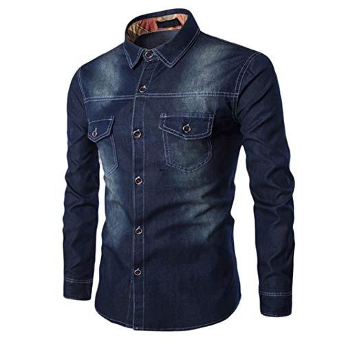 Hffan Herren Jeansjacke Stehkragenhemd Retro Denim Tops Farbverlauf Einfach Moden Design Shirt mit Brusttasche Langarm Slim Fit Casual Freizeithemd für Männer(Dunkelblau,X-Large)