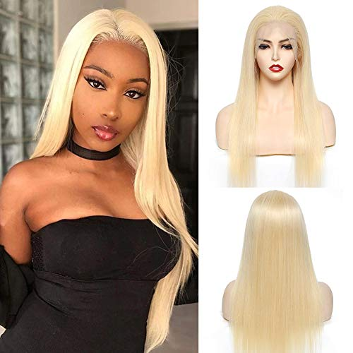 MatchU 613 Lace Front Wig Human Hair Wigs for Women, 13x4 Brazilian Virgin Hair Straight Lace Front Wigs Pre Plucked with Baby Hair Blonde Colored (20 Inch)