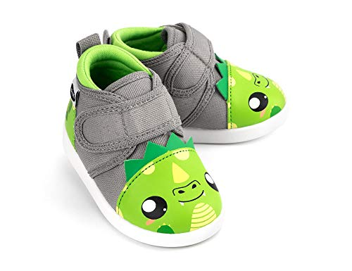 ikiki Dragon Squeaky Shoes for Toddlers w/Adjustable Squeaker, Green Girl or Boy Shoes (Size 5, Leo Longfire)