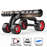 JINZHAO Muscle Exercise Equipment Home Fitness Four Wheels Abdominal Wheel Power Wheel AB Roller Gym Roller Trainer Training,Gold