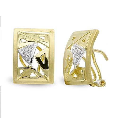 Pendientes oro bicolor 18k mujer formas combinadas caladas omega