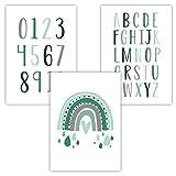 Pandawal Kinderzimmer Deko Baby Bilder 3er Set Alphabet Zahlen Regenbogen Lernposter für Babyzimmer Mädchen und Junge Poster DIN A4 Mint Grün (R8)