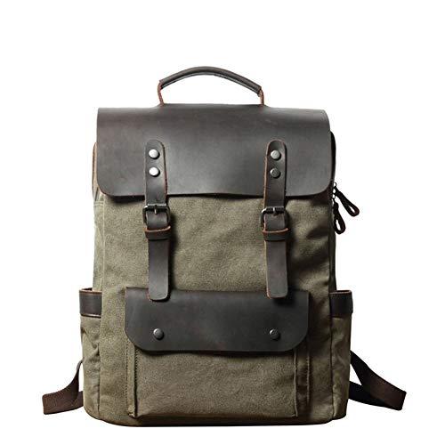 Gli uomini della tela Vintage Bag pacchetto di modo grandi bagagli di corsa sacchetti esterni Zaino Climbing Bag for Work,School,Man (Color : Green, Size : 12 inches)