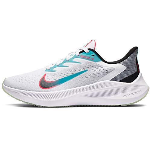 Nike Women's Zoom Winflo 7 Running Shoe, Black/Vapor Green, 8 US