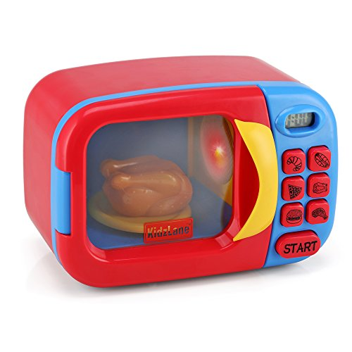 Kidzlane Toy Microwave | Kids Microwave Toy Oven | Play Microwave for Kids and Toddlers | Microwave Kitchen Playset | Pretend Play Cooking Toys Accessories for Girls and Boys