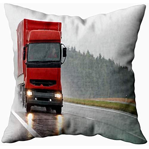 July Kussensloop Cover Rood Rood Trailer Wet Road Tijdens de regen vindt u meer trucks in mijn binnen en buiten