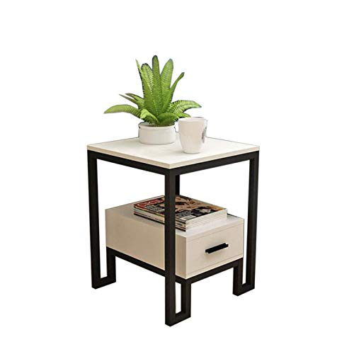 WLJBD Coffee Table, Tables Sofa Small Side Table, Living Room Sofa Side Cabinet, Storage Cabinet with Drawer Bedside Table, 4 feet carbonized Steel Frame Coffee Table