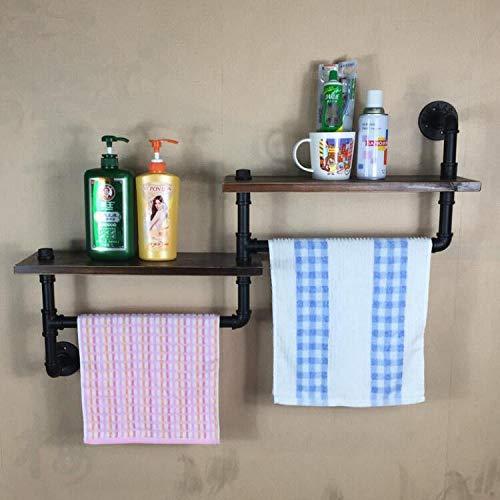 MBYW moderne minimalistische hoge dragende handdoek rek badkamer handdoekenrek Retro water pijp muur montage handdoek rek oud smeedijzer woord plank massief hout wandplank
